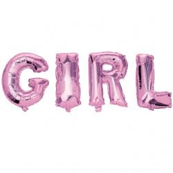 GIRL, rosa folieballonger