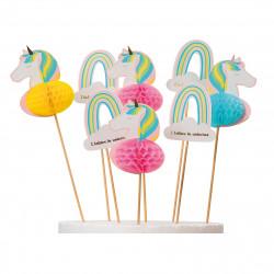 Enhörning och regnbåge, 8 st muffinsflaggor