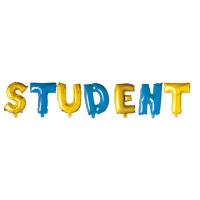 STUDENT, folieballonger (blå och guld)