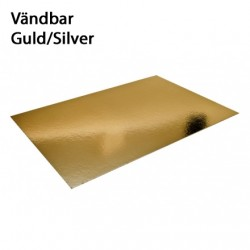 Rektangel, ca 25 X 35 cm - 2 mm (silver/guld)