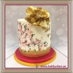 20181118 - Wafer Flower Cake in Gold, tårtkurs