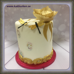 20190224 - Wafer Flower Cake in Gold, tårtkurs