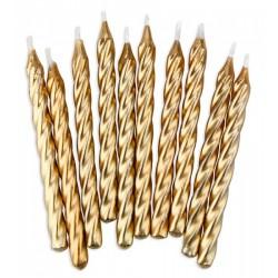 Guld, 12 st tårtljus och ljushållare