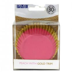 Rosa med guldkant, 30 st muffinsformar (Peach)