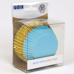 Blå med guldkant, 30 st muffinsformar