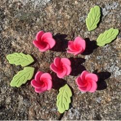 Blommor och blad, rosa (PME)