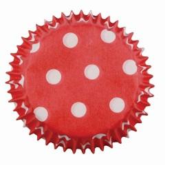 Red Polka Dots, 100 st små muffinsformar