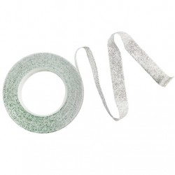 Floristtejp, vit med silver glitter (metallic)