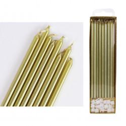 Tårtljus - Långa, guld 16 st (PME)