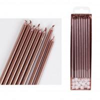 Tårtljus - Långa, rosa 16 st (Rose Gold - PME)