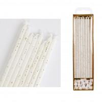 Tårtljus - Långa, vita m glitter 16 st (PME)