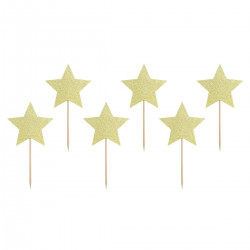 Stjärna, 6 st muffinsflaggor (guld)