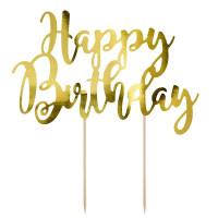 Happy birthday, tårdekoration (guld)