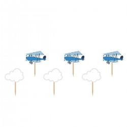 Flygplan o Moln, 6 st muffinsflaggor