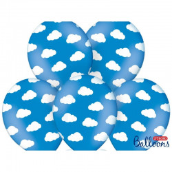 Moln, 6 st ballonger (blåa)