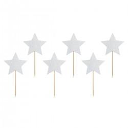 Stjärna, 6 st muffinsflaggor (silver)