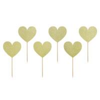Hjärta, 6 st muffinsflaggor (guld)