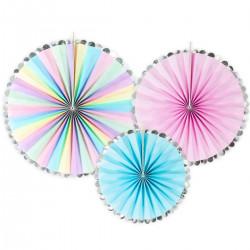 Pastell m metallic kant, 3 st paper fan