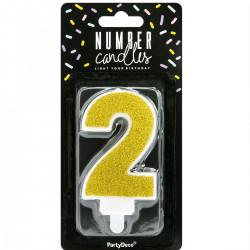 2, glittrigt sifferljus (guld - PD)