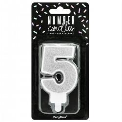 5, glittrigt sifferljus (silver - PD)