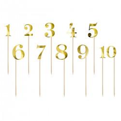 Cake Topper/Bordsnummer, 1 - 10 (guld)