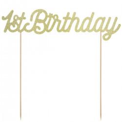 1st birthday, tårdekoration (guld)