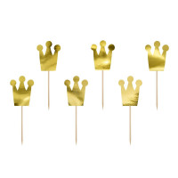 Prinsesskrona, 6 st muffinsflaggor (guld)