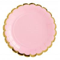 Rosa med guldkant, 6 st tallrikar