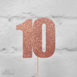 10, glittrig tårtdekoration (roseguld)