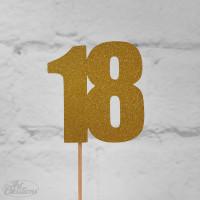 18, glittrig tårtdekoration (guld)