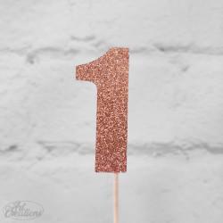 1, glittrig tårtdekoration (roseguld)