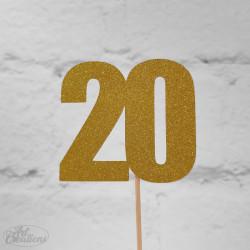 20, glittrig tårtdekoration (guld)
