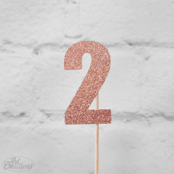2, glittrig tårtdekoration (roseguld)