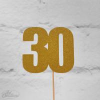 30, glittrig tårtdekoration (guld)