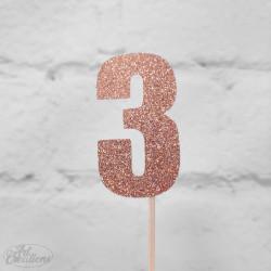 3, glittrig tårtdekoration (roseguld)