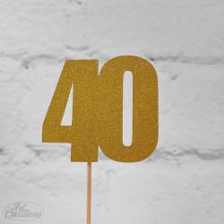 40, glittrig tårtdekoration (guld)