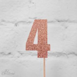 4, glittrig tårtdekoration (roseguld)