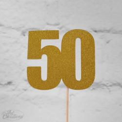 50, glittrig tårtdekoration (guld)