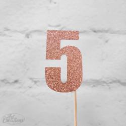 5, glittrig tårtdekoration (roseguld)