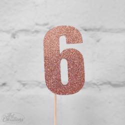 6, glittrig tårtdekoration (roseguld)