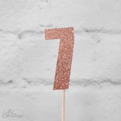 7, glittrig tårtdekoration (roseguld)