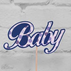 Baby, blå tårtdekoration
