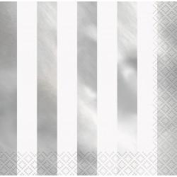 Randiga servetter, 16 st - Silver