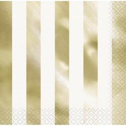 Randiga servetter, 16 st - Guld