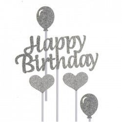 Happy Birthday, tårtdekoration (silver)