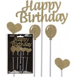Happy Birthday, tårtdekoration (guld)