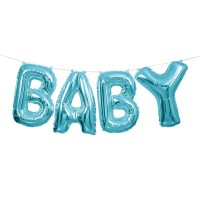 BABY, blåa folieballonger