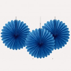 Paper fan, 3 st blåa