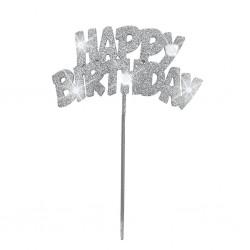 Happy Birthday, silver dekoration m LED
