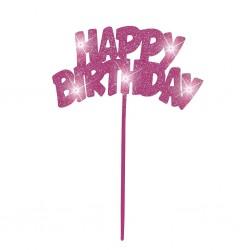 Happy Birthday, rosa dekoration m LED